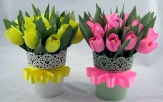 Букет тюльпанов из гофрированной бумаги — Своими Руками
