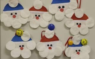 Дед Мороз из бумаги и ватных дисков — Своими Руками