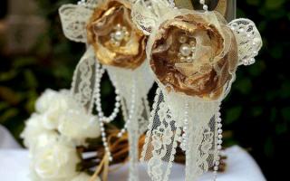 Оформление свадебных бокалов — Своими Руками