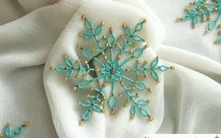 Снежинка из бисера — Своими Руками