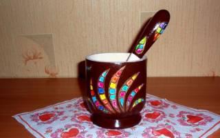 Роспись ступки и пестика мозаичным рисунком — Своими Руками