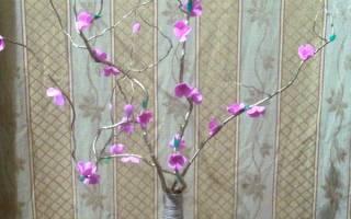 Ваза с цветами на ветке — Своими Руками