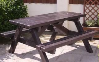 Простой стол со скамейками для сада — Своими Руками