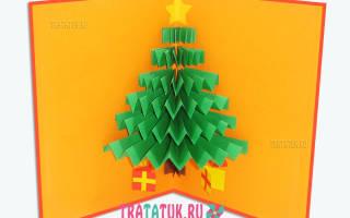 Новогодняя открытка с елкой внутри — Своими Руками