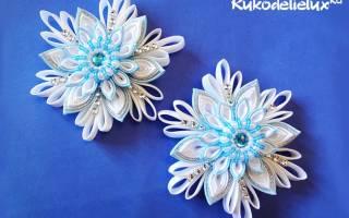Новогодняя снежинка в технике канзаши — Своими Руками