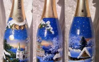 Новогодний декупаж бутылки шампанского — Своими Руками