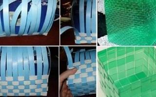 Корзинка из пластиковой бутылки с вязаными розочками — Своими Руками