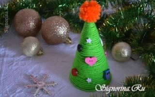 Аппликация «Новогодняя елочка» из пряжи — Своими Руками